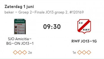 Zaterdag 1 juni bekerfinale JO13-1